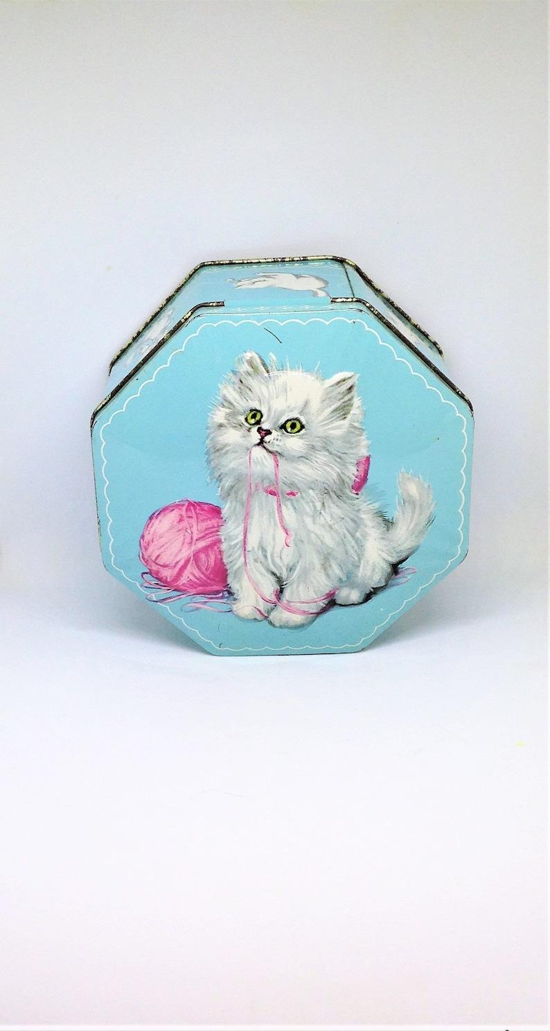 White Persian Cat Tin Blue Kitten Tin Blue Cat Tin Kitten Tin Raised Design Cat Tin Blue White Cat Tin English Tea Tin