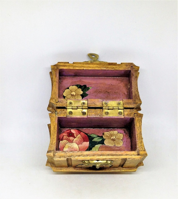 made in Japan Ellen Jay Diamonds box with fabric interior vintage Small Decorative Wood RING BOX