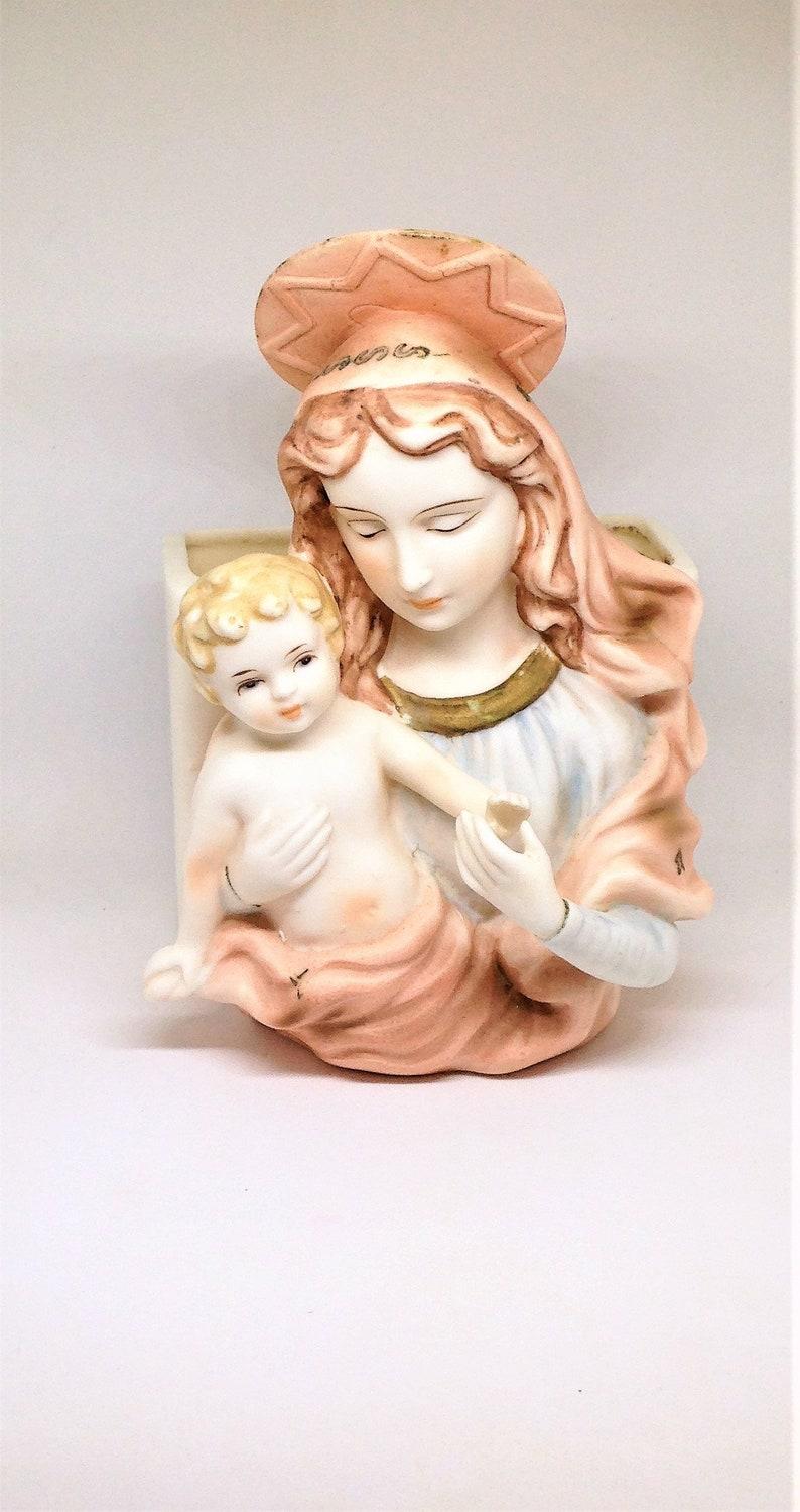 Madonna and Baby Jesus Madonna Planter Religious Planter Mary Icon Planter Jesus Planter Mary Jesus Planter Lego Japan Pink Madonna