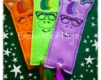Unicorn Book Mark & Unicorn with Glasses In the Hoop Embroidery Machine  File