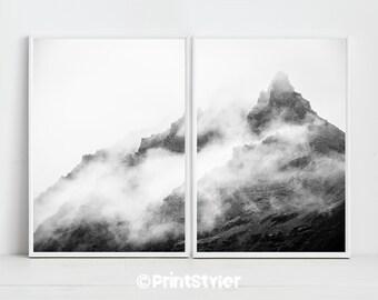 Mountain Print Mountain Art Mountain Poster  Mountain Wall Art Nature art Black and white mountain art