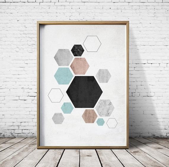 Wand Kunstdrucke Wohnzimmer Nordischen Stil Sechseck Wand | Etsy