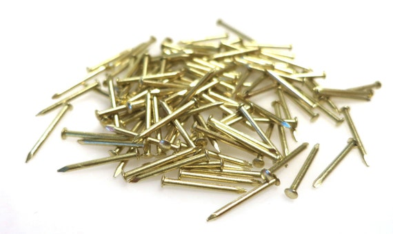 "16 gauge 1//2/"" Long Brass Plated Escutcheon Pins brad nails steel 220 nails new"