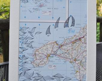 Map artwork- Cornwall, United Kingdom, Great Britain- Original Zentangle inspired drawing.