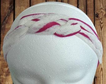 Women's Headband/Turban Sailor Knot Magenta and White Lace Stripe Jersey