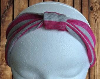 Kid's Turban Top Cinch Headband Pink and Grey Sweater Knit