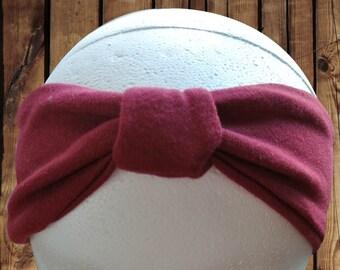 Women's Turban Top Cinch Headband Maroon Jersey