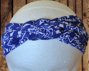 Women's Headband/Turban Premium Pattern Sailor Knot Royal Blue and White Trefoil Floral Patterned Jersey