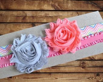 Baby Headband Chiffon Rosette 2 Pack Grey and Coral with Rainbow Chevron Elastic and Mauve Ruffle Elastic