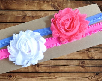Baby Headband Chiffon Rosette 2 Pack White and Hot Pink with Periwinkle and Hot Pink Ruffle Elastic