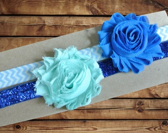 Baby Headband Chiffon Rosette 2 Pack Mint Blue and Royal Blue on Light Blue and White Chevron and Blue Sparkle Elastic