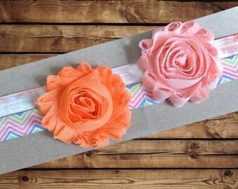 Baby Headband Chiffon Rosette 2 Pack Orange and Peach with Rainbow Chevron and Light Red And White Tie Dye Elastic