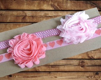 Baby Headband Chiffon Rosette 2 Pack Light Pink and Peach With Heart Print and Mauve And White Polka Dot Elastic
