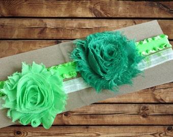Baby Headband Chiffon Rosette 2 Pack Dark Green and Green with Green Ruffle and Light Green And White Tie Dye Elastic