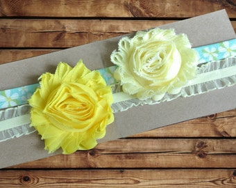 Baby Headband Chiffon Rosette 2 Pack Light Yellow and Yellow with Sheer Yellow Ruffle and Daisy Print Elastic