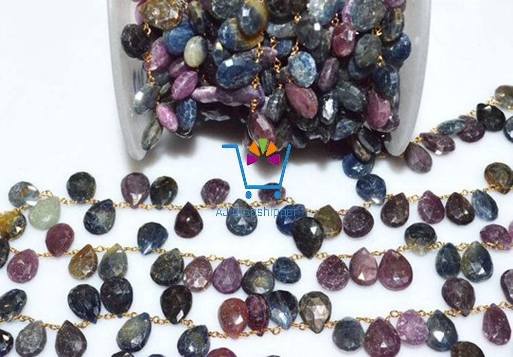 50 pieds magnifiques Multi perles saphir 11-13mm main chaîne chapelet à la main 11-13mm fil enroulé perlée, gros prix chapelets (MRC-392) ef7f61