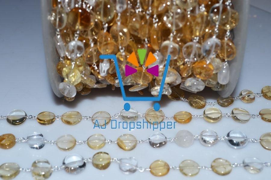 10 pieds belle Citrine 5-6mm et cristal chapelet perles chaîne, 5-6mm Citrine chapelet perles enveloppé du fil à la main, gros prix chapelets (MRC-015) 21029a