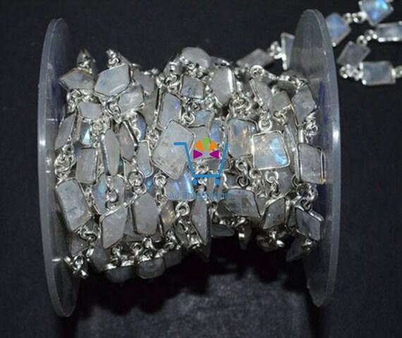 10 pieds belle lunette arc-en-pierre de lune lunette belle connecteur chaîne, 7-10mm lunette sertie continuos volant station connecteur Rosaire chaîne (MRC-236) 5ed496