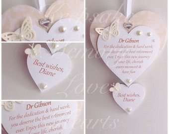 2e9a01a37 Personalised retirement gift wooden keepsake heart with one named heart