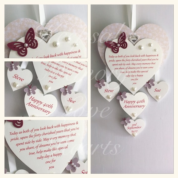 Ruby Wedding Anniversary Gifts Uk: 40th Ruby Anniversary Gift Personalised Wooden Keespake Heart