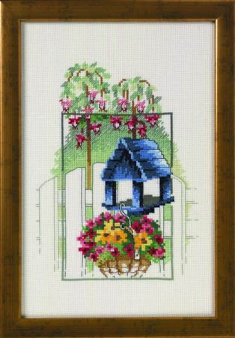 Embroidery picture blue birdhouse with flower basket