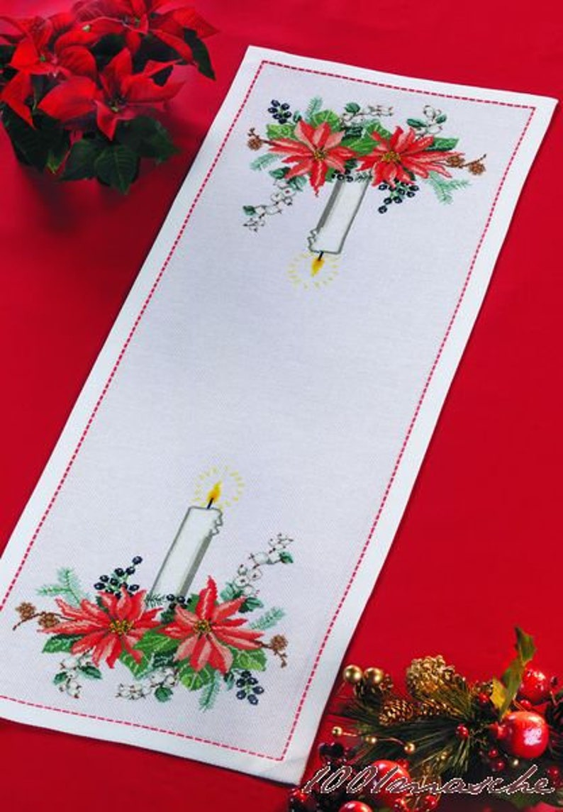 Embroidery painting 31 x 86 cm Advent stern
