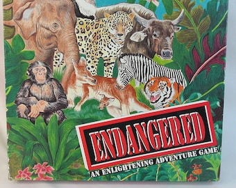 Vintage (1989) Endangered educational ecological board game. Full-color endangered animals cards published by Family Games. Complete