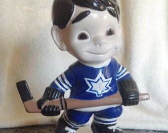 Vintage ceramic hockey player figurine named Bobby player #1. Toronto Maple Leafs Uniform.  Great kids' room decor | man gift.