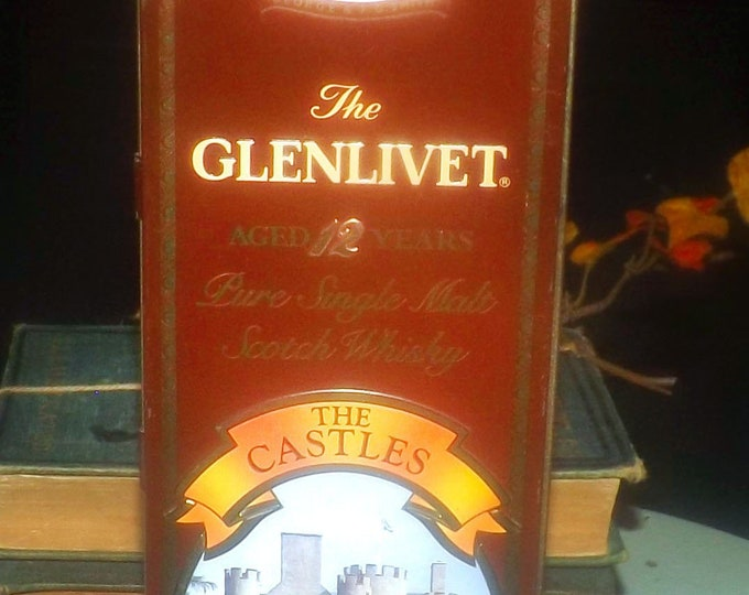 Vintage (1980s) The Glenlivet lithographed Scotch tin. The Castles of Scotland made in England by Barringer Wallace Manners. Braemar Castle