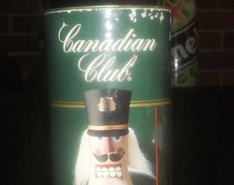 Vintage (1991) Canadian Club Whisky collectible coin bank tin featuring the Christmas Nutcracker!