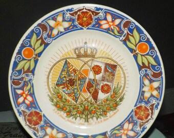 Quite vintage (1937) Petrus Regout Maastricht hand-painted plate celebrating the Royal Wedding of HRH Juliana & HRH Bernhard January, 1937.