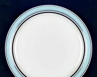 Vintage (late 1970s - early 1980s) Mikasa Japan Surf pattern MU102 round platter | chop plate. Blue and brown bands. Horizon stoneware.