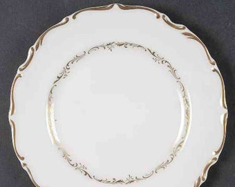 Vintage (1960s) Royal Doulton H4957 Richelieu pattern bread-and-butter, dessert, or side plate. Abundant gold, embossed gold scrolls.
