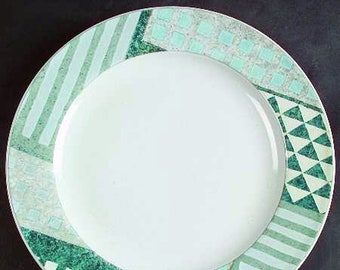 Vintage (1999) Studio Nova   Mikasa Eclectic HG295 large dinner plate   charger. Blue, green and grey geometric pattern.