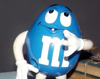 Vintage (1989) M&Ms | M and M | Mars. Inc. Mr. Blue candy dispenser.