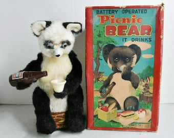 Mid-century Alps Japan tin toy Picnic Bear | Drinking Bear with original box. Battery-operated (currently not working). Nice display item.