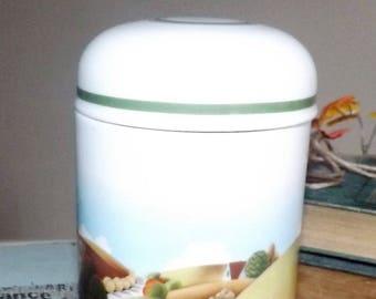 Vintage (1980) Estee Lauder Country Canister | Tea Caddy | Spice Jar | Ginger Jar | Lidded Vanity Jar. Farmhouse Scene.