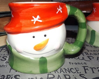 Vintage (1991) Royal Norfolk hand-painted, figural Snowman mug. All set for the frosty weather in his green scarf & red hat.