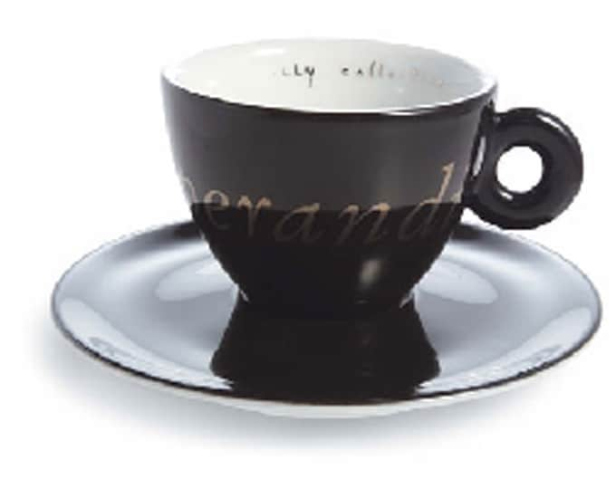 Vintage Illy Art Collection Modus Operandi Black espresso cup and saucer made in Germany by Mitterteich. Josef Kosuth design.