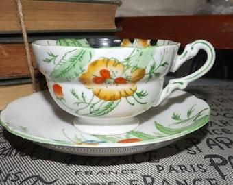 Antique (late 1800s) J. Shore & Co | Bell China hand-painted tea set.  Multicolored florals, enamel rim, accents.
