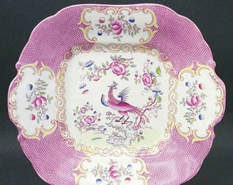 Antique (1800s) Mintons Pink Cockatrice square handled   lugged cake or cookie serving plate. Signed and numbered. Scalloped mustard edge.