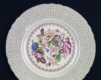 Early mid-century (1940s) Myott Swing Time dinner plate. Multicolor florals, swirled verge, scalloped edge.