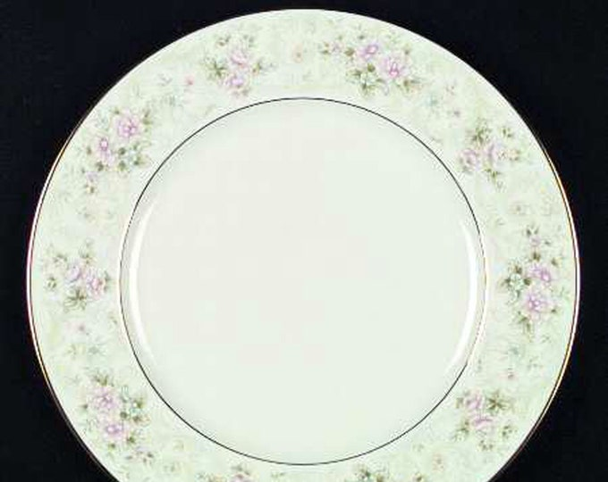 Vintage (1980s) Noritake Willowbrook 9722 large dinner plate or charger. Lightly embossed multicolor floral band, gold edge & inner band.