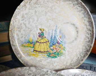 Quite vintage (1930s) James Kent Old Foley Crinoline Lady 3087 breakfast | snack | tennis plate. Gold chintz, spot for tea cup.