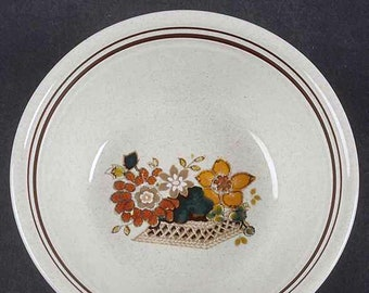 Vintage (1979) Royal Doulton Paradise Garden LS1041 coupe cereal bowl. Lambethware stoneware made in England. Sold individually.