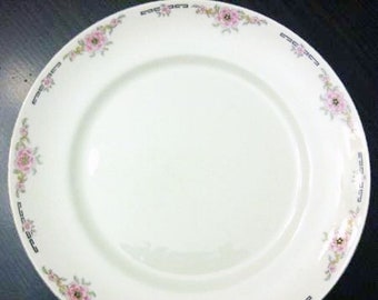 Almost antique (1920s) Alfred Meakin Milldale bread-and-butter, dessert, or side plate. Pink florals, gold edge, black Greek key.