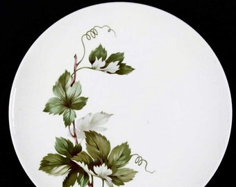 Mid-century British Empire Ceramics | Edwin Knowles Grapevine dinner plate. Green and white leaves, brown branches. Sold individually.