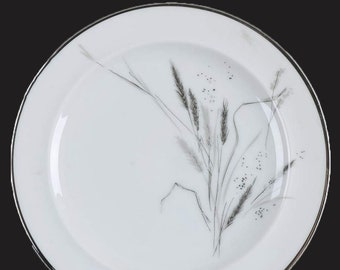 Mid-century (1950s) Easterling Germany Kora pattern bread-and-butter, dessert, or side plate. Grey wheat sheaves, platinum edge.