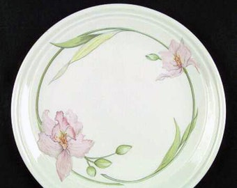 Vintage (1980s) Johnson Brothers Celebrity large dinner plate.  Pink iris and green foliage, off-white ground, embossed details