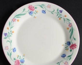 Vintage (1991) Royal Doulton Amadeus salad or side plate.  Multicolor floral band, pink edge. Expressions line.